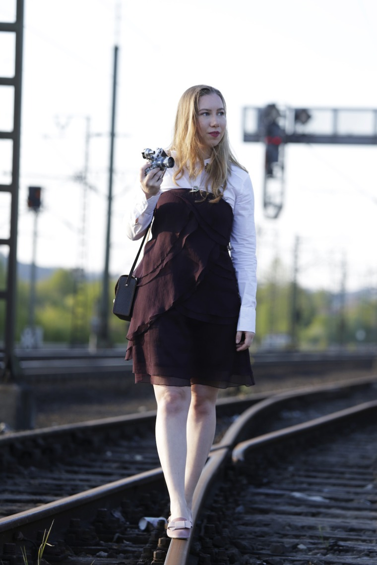 Shop in your closet Living like Golightly analog camera brooch purple dress railway station
