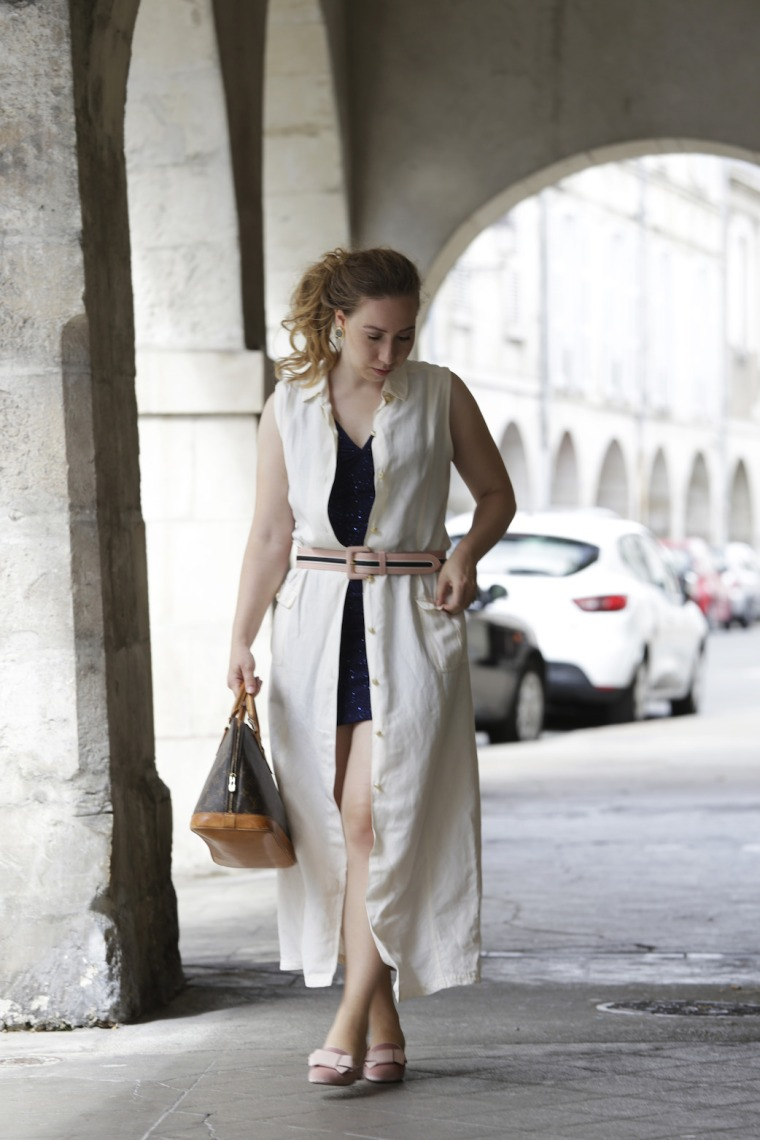 How-to-style-sequins-for-the-day-and-wear-blue-glitter-dress-with-long-linen-vest-velvet-pink-loafer-louis-vuitton-alma